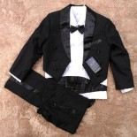 Elegant Boy Black Suit/Tuxedo - Formal/Wedding 6-Pcs Suit