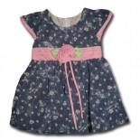Denim Blue Flora Casual Dress - Baby Girls Clothes
