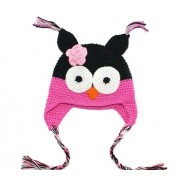 Green/Pink Owl Hand knitted beanie / hats - Babies Accessories