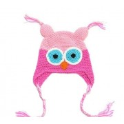 Black/Pink Owl Hand knitted beanie / hats - Babies Accessories