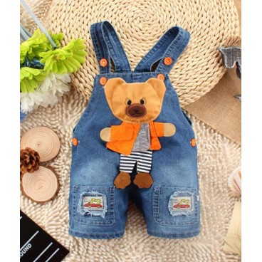 Teddy Bear Patch Jeans Overalls